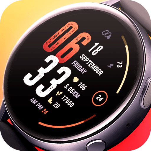 Matveyan – Motion Sport 2. Sport watch face with big numbers and nice gradient colors.